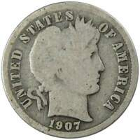 1907 Barber Dime G Good 90% Silver 10c US Type Coin Collectible