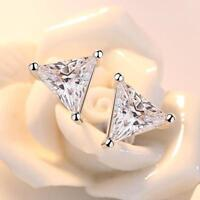 Triangle Shape Stud Earrings Sparkling 3 Prong Cubic Zirconia Sterling Silver