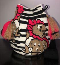 Authentic 100% Wayuu Mochila Colombian Bag Large Special lizard double string