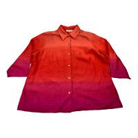 JONES NEW YORK Sport Woman Button Down Shirt 3/4 Sleeve Plus Size 3x