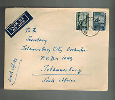 1953 Ankara Turkey airmail cover to  South Africa Johannesburg City Orchestra
