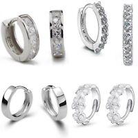 UK 925 Silver Plt Huggie Hoop Hook Earrings Small Round Womens Ladies Jewellery