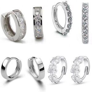 UK 925 Silver Plt Huggie Hoop Stud Earrings Small Round Womens Sleeper Xmas Gift