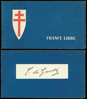 French President CHARLES DE GAULLE Autograph in FRANCE LIBRE Foldout Booklet!