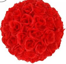 "10"" Silk Rose Flower Kissing Ball Wedding Party Home Decoration RED"