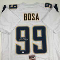 Autographed/Signed JOEY BOSA Los Angeles LA White Football Jersey JSA COA Auto