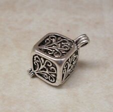 Antique Silver Filigree Cube Cage Locket - Pendant Charm Wish Prayer Box
