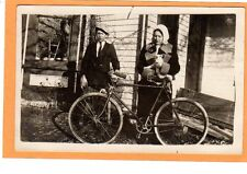 Real Photo Postcard RPPC - Boy and Bicycle and Girl Holding Kitten Cat