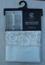 New 6 Pcs Victorian Sytle Curtain Set 2 Panels Attached Valance & Backing Beige