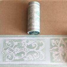 5m Roll of Wallpaper Border - Green Ornate Scroll - Readyroll Self Adhesive