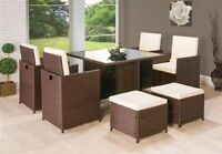 9pc Piece Mix Brown Wicker PU Rattan Cube Garden Furniture Dining Table Sofa Set