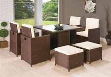 9pc Piece Mix Brown Wicker PU Rattan Cube Garden Furniture Dining Table Sofa Set