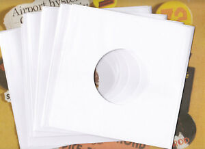 """20 x 7"""" NEW! Quality White Paper Record Sleeves for your Vinyl 45s"""