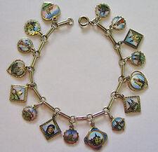 Vintage Antique Austrian Silver Enamel Pilgrimage Souvenir Travel Charm Bracelet
