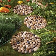 Set of 12 River Rock Stepping Stones For Lawn Garden
