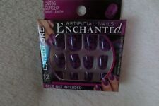 L.A. Colors Artificial Nails Enchanted Halloween Purple/Black Short New