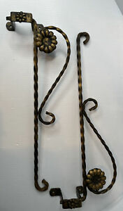 Pair Art Deco Floral Twisted Swing Arm Curtain Rods With Mounting Bracket