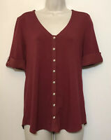 White House Black Market Small Red Short Sleeve Button Front Knit Top