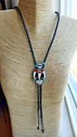 """Vintage Zuni Thunderbird Sterling Turquoise Coral Shell Onyx Inlay 38"""" Bolo Tie"""