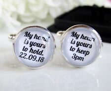 Personalised Groom Wedding Quote Cufflinks My Hand My Heart Custom Date Time Box