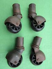 4 roulettes ancienne plastique & fer roulement à billes meuble table dia. 4,7 cm