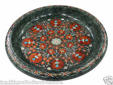 """15"""" Green Marble Fruit Bowl Carnelian Mosaic Marquetry Home Decor Thanks Gifts"""