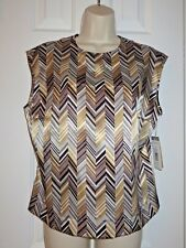 Women's Harve Benard Sleeveless Silky Metallic Geometric Blouse NWT $110 Sz 12P