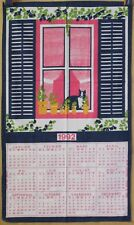VINTAGE ✤ Torchon Calendrier 1992 ✤ CHAT