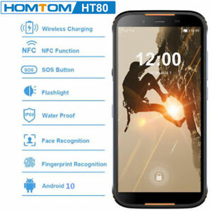 """5.5"""" HOMTOM HT80 Waterproof Smartphone 4G LTE Android 10.0 Rugged NFC Face ID"""