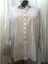 B&W Pin Stripe Belted Tunic Blouse Button Front Menswear Inspired Plus Size 4X