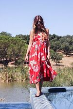 MANGO RED FLORAL PRINT ASSYMETRIC FLOWY DRESS SIZE:LARGE **SOLDOUT EVERYWHERE**