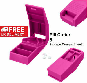 NEW 2021 Portable Tablet Pill Splitter Medicine Cutter Quarter Compartment Box