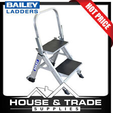 Bailey Stairwell Ladder 2 Step 45cm Aluminium With Folding Hand Rail FS13750