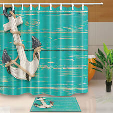 Anchors and turquoise boards Shower Curtain Bedroom Decor Fabric & 12Hooks new