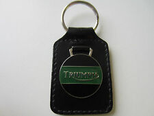 LEATHER KEY CHAIN RING FOB GREEN MADE IN ENGLAND FOR TRIUMPH