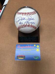 "Pete Rose Signed Baseball ""All Century"" Inscription Mouned Memories"