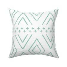 Teal Diamond Boho Mint Mudcloth Throw Pillow Cover w Optional Insert by Roostery