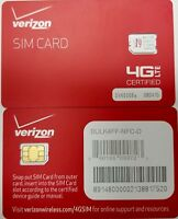 VERIZON NANO 4FF SIM CARD NEW GENUINE OEM CDMA 4GLTE PREPAID OR CONTRACT