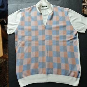 Mens Remus Uomo Knitted 100% Cotton Polo Style Shirt With Zip Size UK XL