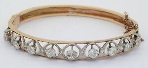 Antique 14K 2-tone gold beautiful 1.92CTW diamond hinged bangle bracelet