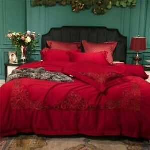 4/6Piece Red Egyptian Cotton Lace Luxury Wedding Bedding Bedsheets Duvet Cover