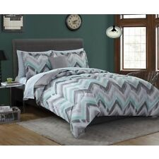 King Size Comforter Sheet Set Complete Bedding Bed in a Bag Chevron Gray Mint