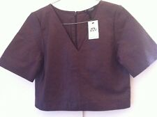 Brown Leather Crop Top Size 6