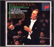 Carlo Maria Giulini: Beethoven Symphony No. 2 & 8 la Scala Sony CD 1993 Symphonies