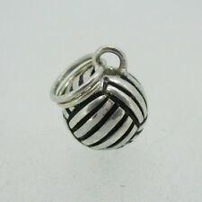 Sterling Silver Puffy Volley Ball Pendant Charm