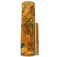 """Signed Art HAND CARVED/PAINTED BAMBOO 20"""" Wall Hanging DRAGON/BIRD & WOMAN Scene"""