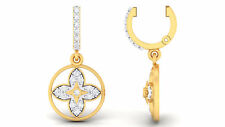 Pave 0.40 Cts Natural Diamonds Dangle Earrings In Fine Certified 14K Yellow Gold