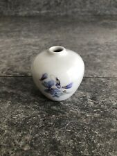 Floral Blue White Miniature 2.5 Inch Vase With Back And Front Blue Flowers