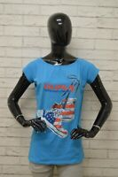 Maglia GURU Donna Taglia Size M Maglietta Shirt Woman Elastico Manica Corta Blu