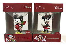 2 New Hallmark Mickey Mouse Minnie Mouse Christmas Tree Ornaments Holiday Gifts